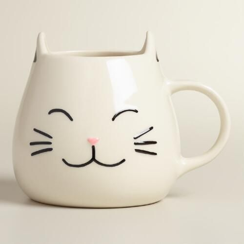 The perfect gift for animal lovers, our exclusive stoneware coffee mug looks like a happy cat with perky raised ears, a pink nose and adorable black whiskers. Cat  Mug available at Cost Plus World Market >> #WorldMarket Kitchen Tools and Storage, Kitchen Decor, Tips