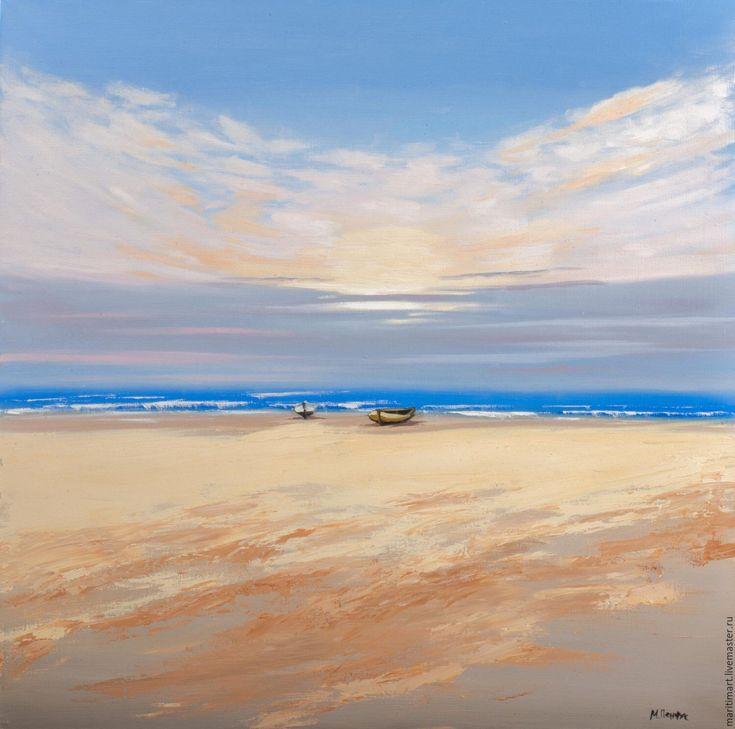 Купить Картина маслом. Рассвет на море - картина для интерьера, картина на…