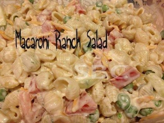 Save Print Ranch Macaroni Salad!  Ingredients 16 oz shell macaroni, cook according to directions small bag of frozen peas 2 Roma tomatoes diced 1 cucumber diced ½ cup grated cheese 1 p…