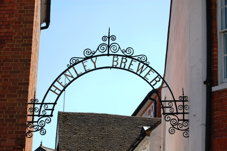 The arched sign for the former Brakspear's brewery, now the Hotel du Vin, Henley on Thames