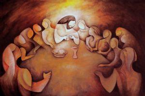 Luminous Mystery #5 - (Eucharist) Last dinner - Ultima cena. acrilic & oil/canvas. 2012.