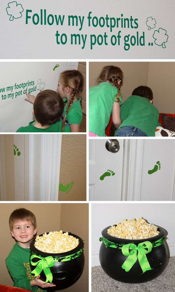 Using Vinyl on your St. Patrick's Day Party - at the end they get a big bowl of popcorn or, better yet, carmel corn!: Saint Patrick'S, St. Patties, For Kids, St. Patrick'S Day, Movie Night, Parties Ideas, Treasure Hunt'S, Great Ideas, Pots Of Gold