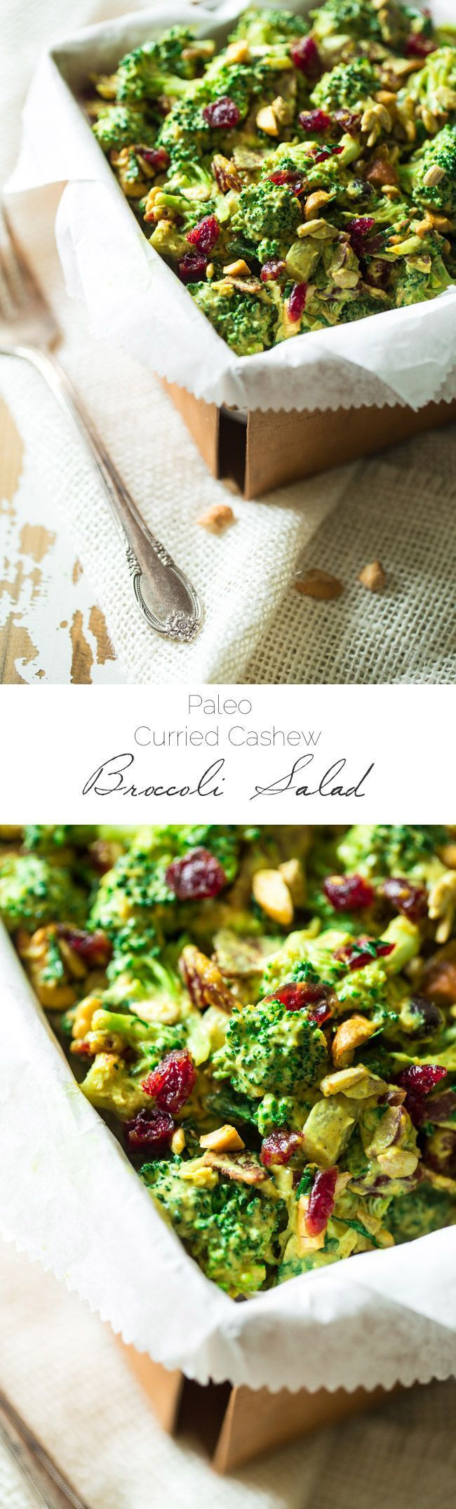 This paleo, healthy Broccoli Salad is jazzed up with a curried cashew cream dressing. It's a quick and easy side dish that is always a crowd pleaser! | http://WholeYum.com