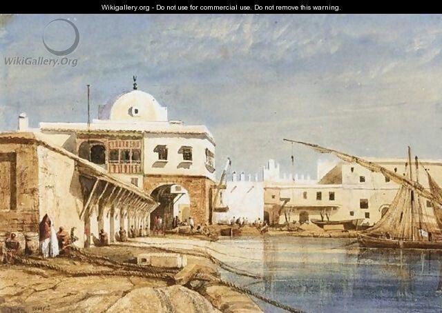 Algérie - Peintre Anglais William WYLD (1806-1889 ), huile sur toile ,Titre : Port d'Alger