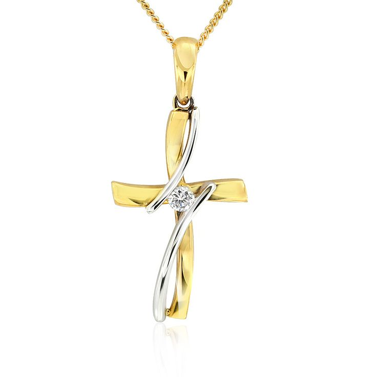 Celebrate life and love with the [ORO]3 Present Moment diamond cross. Crafted in 18ct white and yellow gold. Length 29mm. Width 9mm. Chain included.