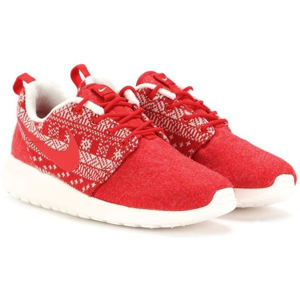 Nike Nike Roshe One Winter Sneakers ($78) ❤ liked on Polyvore featuring shoes, sneakers, red, nike shoes, nike trainers, red sneakers, red trainers and red shoes