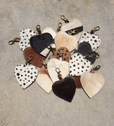 Check it out! Cute cow hide keyrings - all completely individual and unique #cowhide #keyring #present