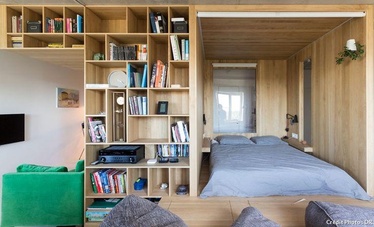 Coin nuit et espace bibliothèque dans un grand studio habillé de bois.