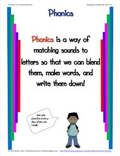 Phonics chart to explain to parents what you are doing with the children.