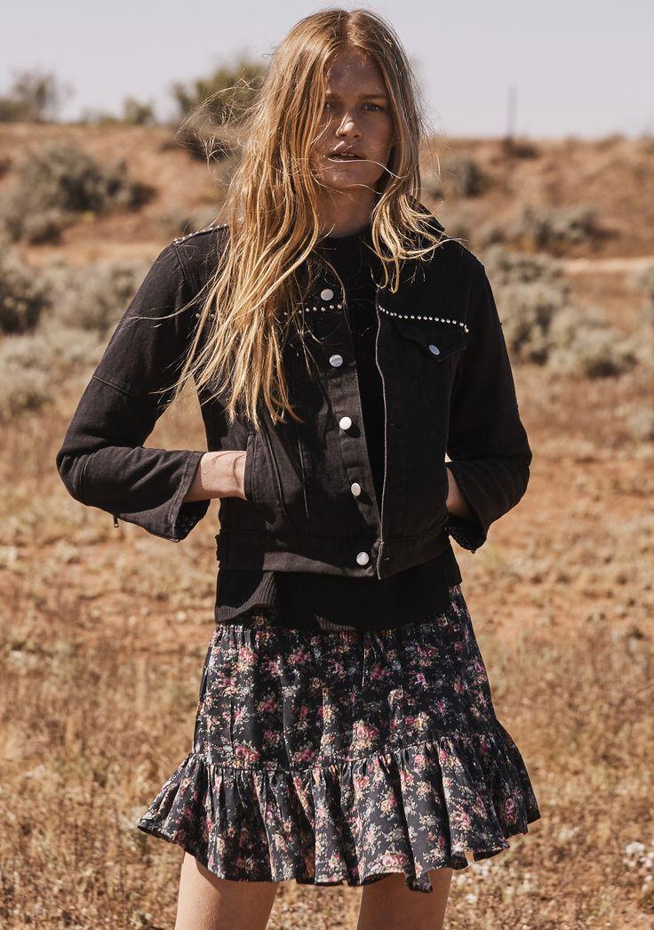 Auguste - Roxy Rara Skirt 90'S Ditsy Floral Black