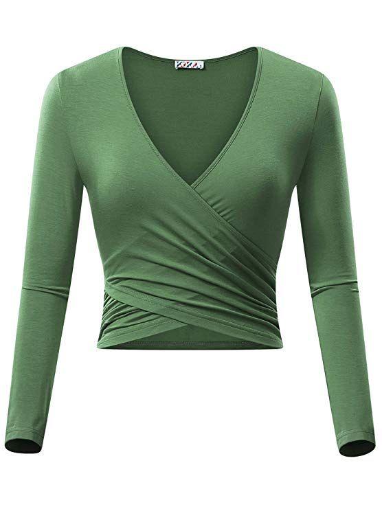 54051c3be0964 KIRA Women s Deep V Neck Long Sleeve Unique Cross Wrap Slim Fit Crop Tops(XS