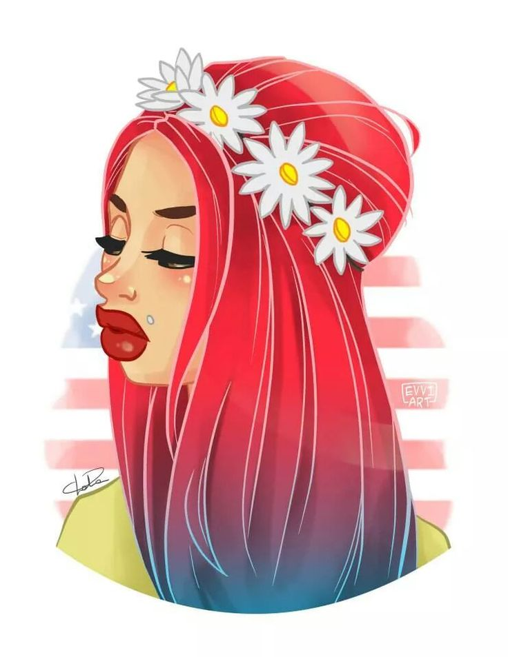 evviart | evviart digital art illustration sexy girl hippie red hair