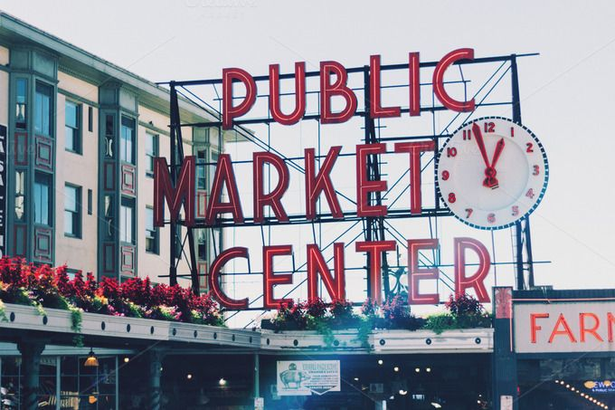 Pike Place - Public Market by Hello Goodbye Studio on Creative Market