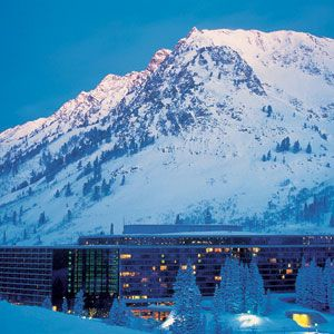 The Cliff Lodge, Snowbird Utah... Stayed here and got snowed in.  The Eagles were staying there as well that evening.  It was so beautiful and I've never seen snow so deep before.  They were blasting the area around the hotel to keep avalanches from occuring.