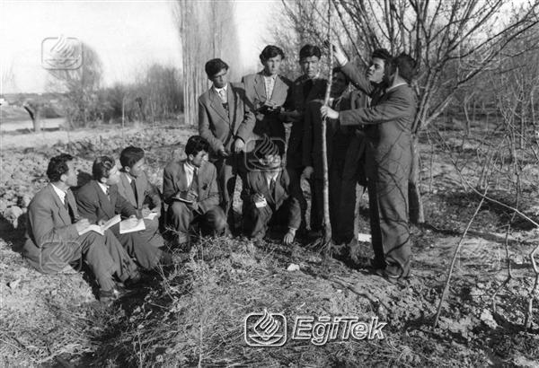 Köy Enstitüsü öğrencileri, Fidan dikmesini öğreniyor