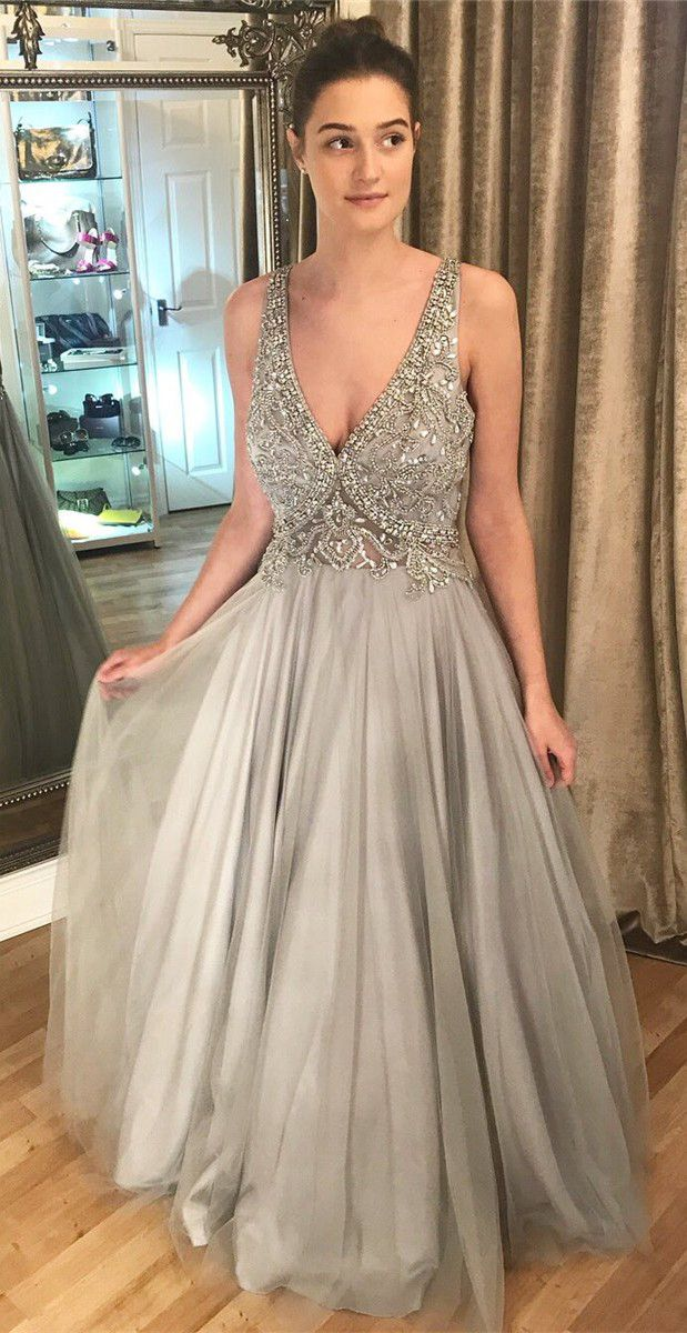 ac333a7b7e7 Luxurious V Neck Beaded Grey Tulle Long Prom Dress from dreamdressy ...