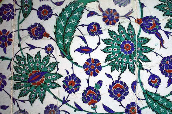 Iznik tile lunette, Çinili Köşk, Ceramics Museum, Istanbul, Turkey