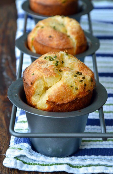 Gruyere Chive Popovers | http://www.justataste.com/2012/08/gruyere-chive-popovers-recipe/