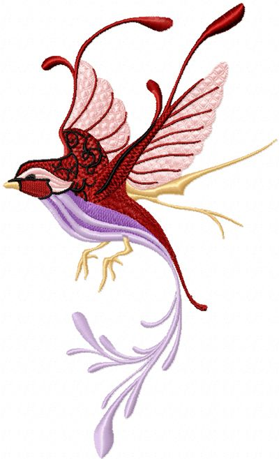 Fantastic Bird 1 machine embroidery design. Machine embroidery design. www.embroideres.com