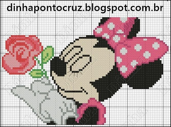 Dinha Ponto Cruz: Minnie e Mickey em ponto cruz