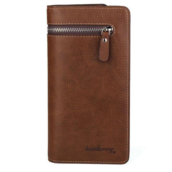 Men Bifold Zipper Long Clutch Wallet Money Clip Pockets Card Holder