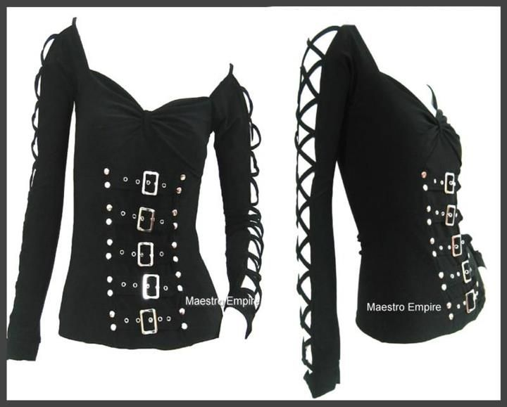 Something my DIY skills fall short of. Makes me wish I knew how to sew. Buckle shirt with lace-up sleeves.