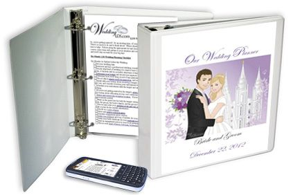 An example of a custom LDS wedding planning notebook for LDS brides and grooms from WeddingLDS.com