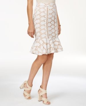 endless rose Lace Peplum Skirt - Tan/Beige XS
