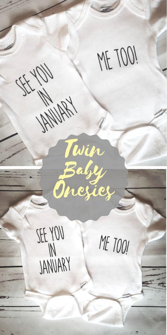 I'm Here Me Too Onesies, Twin Onesies, Pregnancy Announcement Onesies, Birth Announcement Onesises, Onesie Set, Personalized Onesies. #etsy #twins #affiliate #announcement
