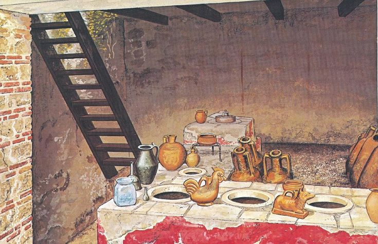 Reconstruction of the Thermopolium of Asellina, which served hot and cold drinks, cooked food, and even provided accommodation upstairs. It is situated along the via dell'Abbondanza not far from the triangular forum.  IX.11.2 #Pompeii.