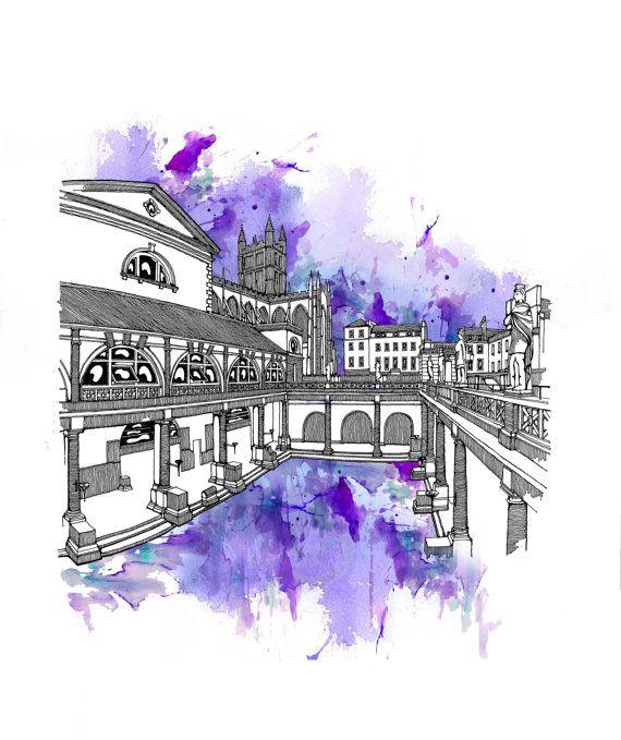 The Roman Baths Bath Architectural print A4 Ink Hand by GwynaDu