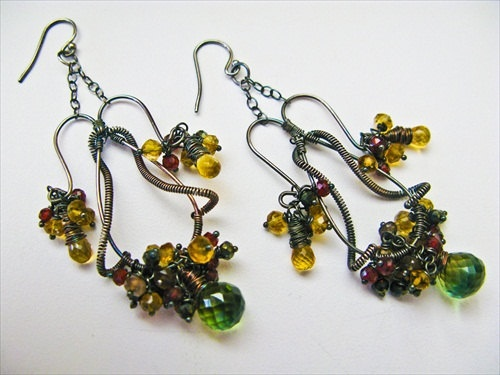 Oxidized Sterling Silver Earrings - Bio Quartz, Citrine, Golden Spinel, and Garnet Chandelier. $395.00, via Etsy.
