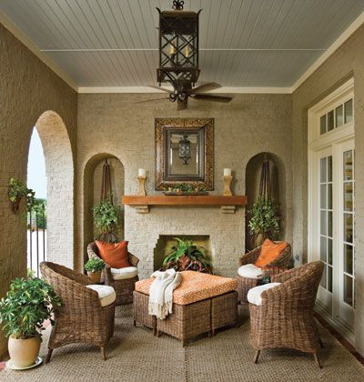 love the idea of an outside, inside...someday<3Outdoor Oasis, Outdoor Fabrics, Outdoor Living Room, Wicker Furniture, Outdoor Patios, Outdoor Room, Porches, Families Room, Outdoor Spaces