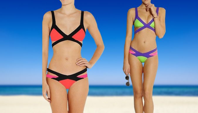 Buy: Colourful Triangle Bikini - 2 Designs for just: £11.99 Feel fashionably fabulous in the Colourful Triangle Bikini      Choose from 2 bright designs: Orange  and  Black or Green  and  Purple      Sizes available: S, M or L (please see Full Details for size guide)      Features double strap top with low-rise bikini bottoms      Unique strappy design will show off your favourite curves     ...