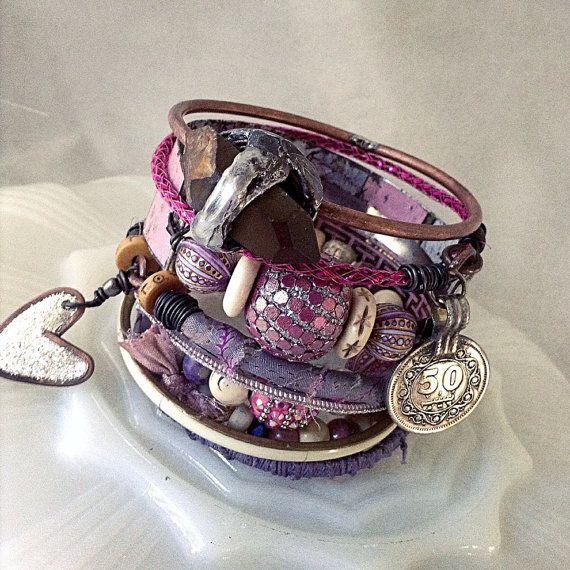 Gypsy bangle stack, bracelet set in pink and purple with tin cuff, boho beaded bracelet, sari silk bangle, mystic quartz, bohemian bangles