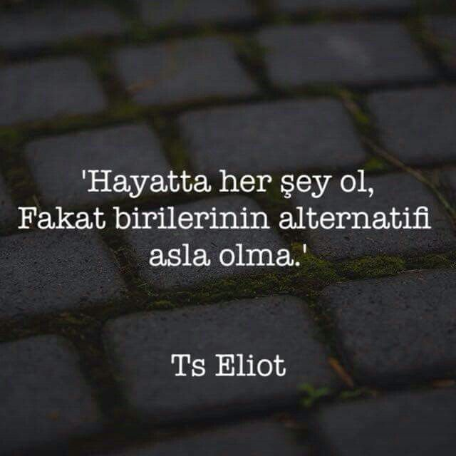 ✔'Həyatda hər şey ol, Amma birilərinin alternativi heç vaxt olma'. #Ts_Eliot