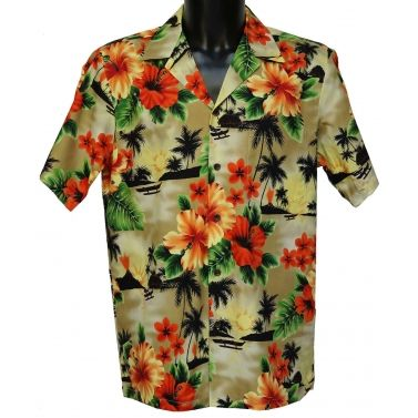 chemise hawaienne authentique ...Aloha orange