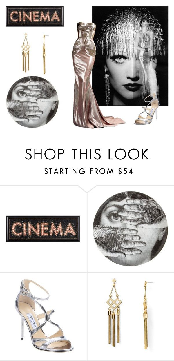 """""""Metropolis glam"""" by clararucula ❤ liked on Polyvore featuring Fornasetti, Karl Lagerfeld, Versace, Jimmy Choo and Dylan Gray"""