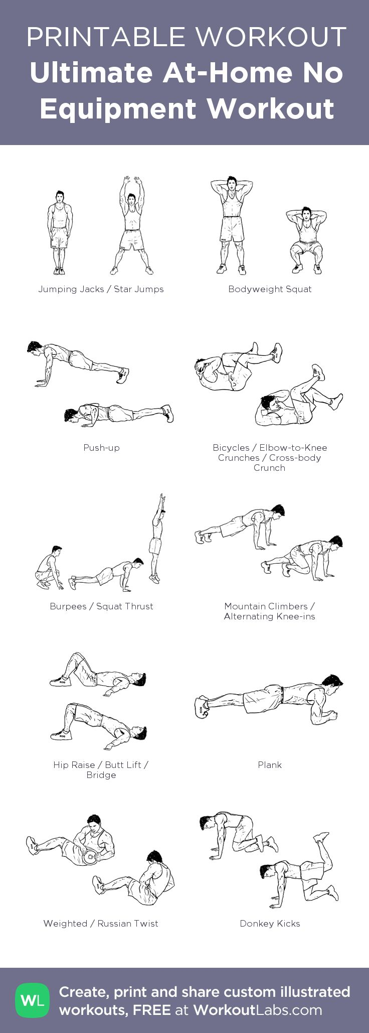 Ultimate At-Home No Equipment Workout from WorkoutLabs.com • Click through to download as printable PDF! #customworkout