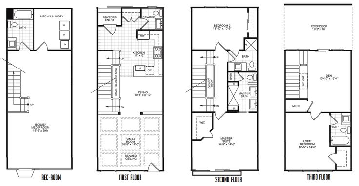 21 best shed house plans images on pinterest floor plans for Row home floor plans