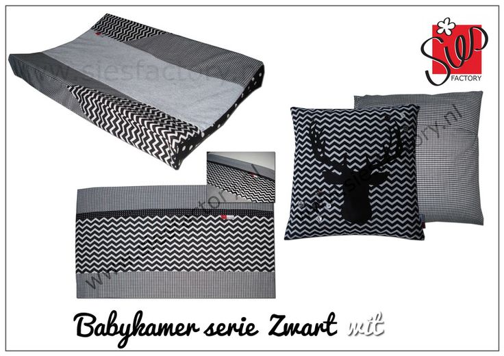 Babykamer aankleding zwart, wit chevron/zigzag met hart/dear
