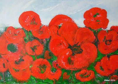 Kom binnen in de Kunstgalerie van Marl.Decoratieve schilderijen: 14-177-14-179 Poppie's