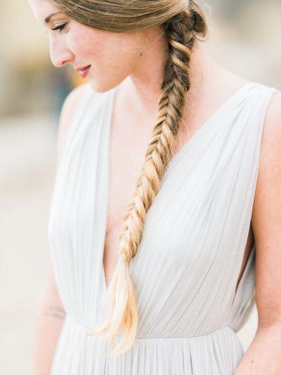 Pretty fishtail braid: http://www.stylemepretty.com/2015/03/06/gilded-goddess-wedding-inspiration/ | Photography: Honey Honey - http://www.hoooney.com/