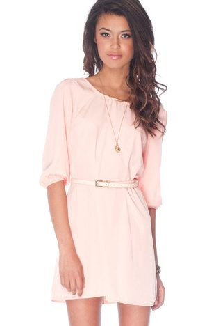 Pale pink belted dress
