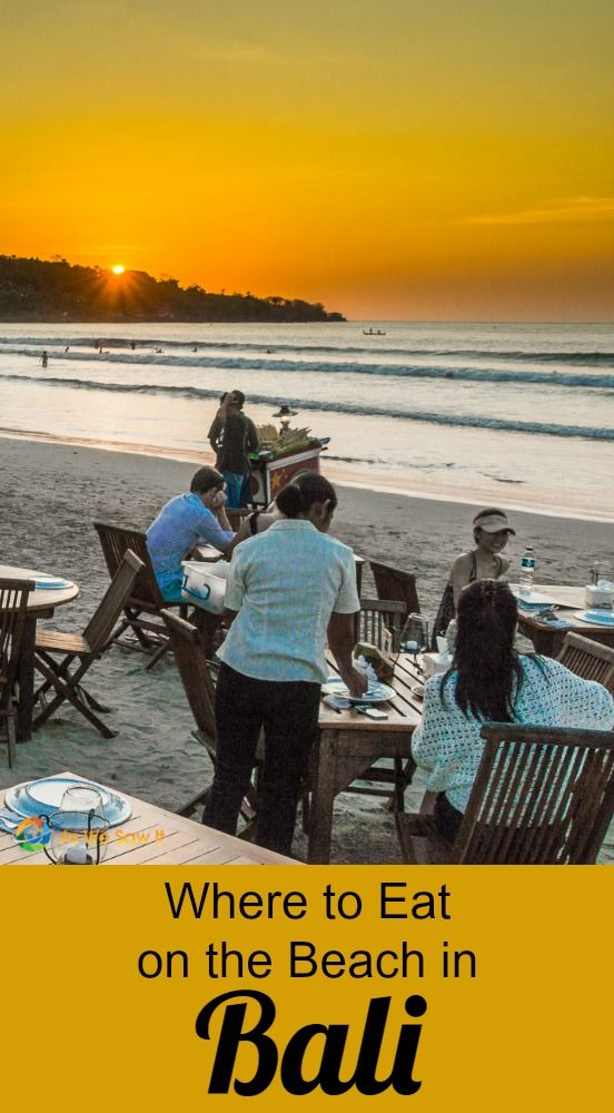 Jimbaran Beach is the iconic place to eat on the beach in Bali and it comes with a free sunset.