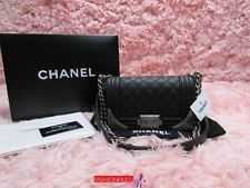 Nova 2014 Chanel Paris Dallas, Le Boy Pequeno Black calfskin saco acolchoado