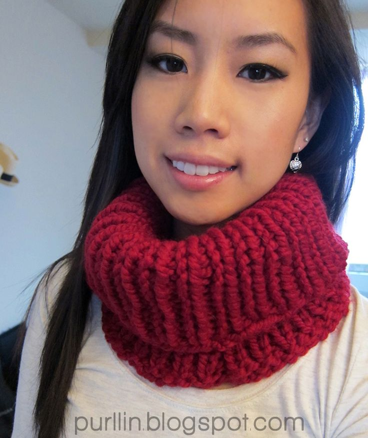 Purllin: Quick Knit Cowl Neck Warmer | free knitting pattern - 16'' US size 15 circular needles - Lion Brand Wool-Ease Thick & Quick Yarn (color: cranberry); 1 skein (108 yards) cast on 60 stitches in the round.