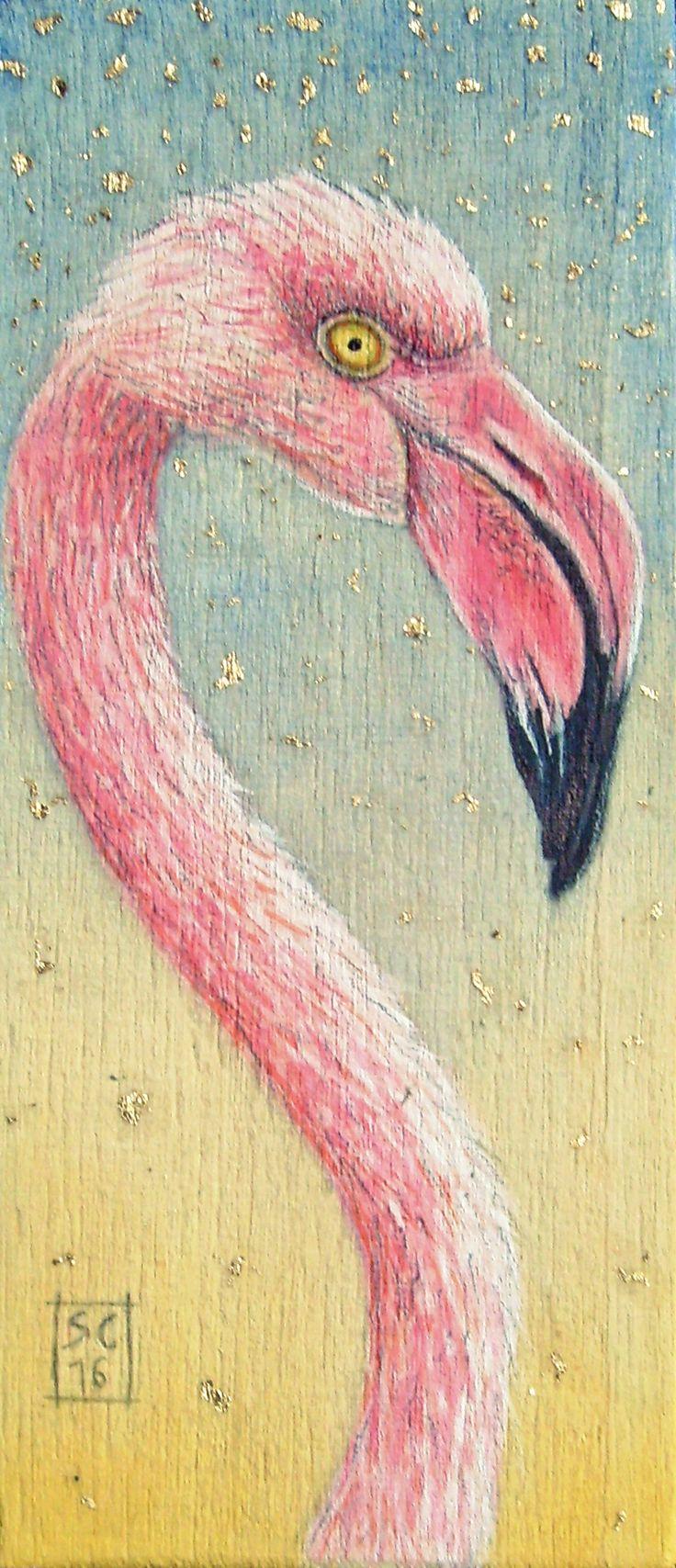 ✦ Fenicottero ✦ Acquerello, acrilico, matita, foglia oro su compensato 4,5 x 11 cm  - SC/16