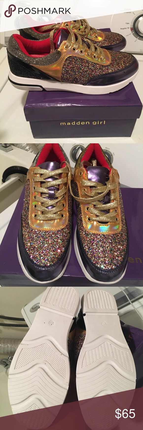 New Madden Girl shoes Brought these cuties but decided these are a little to much sparkles for me lol!! They are new no wear comes with box!! Steve Madden Shoes Athletic Shoes