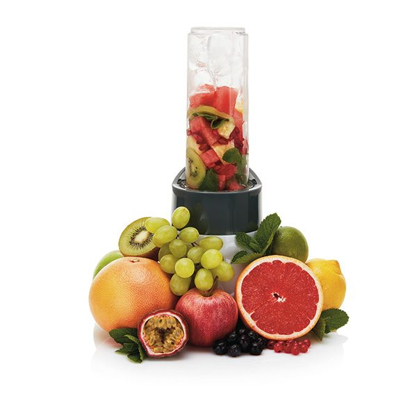 Stay healthy and blend your favorite smoothie/shake right in the 550ml tritan bottle.  BPA free. Crushes ice, frozen or fresh fruit, vegetables and even nuts. Comes with a powerful 300-watt motor and a stainless steel blade. Including manual with healthy smoothie recipes.